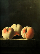 Three Peaches on a Stone Plinth by Adriaen Coorte (active c. 1683-1707) oil on paper, laid down on panel, c 1705.