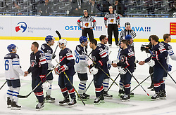 Tuukka Mantyla of Finland, Trevor Lewis of USA, Atte Ohtamaa of Finland, Nick Bonino of USA, Jarkko Immonen of Finland, Jeremy Morin of USA, Sami Lepisto of Finland, Torey Krug of USA, Anders Lee of USA after the Ice Hockey match between USA and Finland at Day 1 in Group B of 2015 IIHF World Championship, on May 1, 2015 in CEZ Arena, Ostrava, Czech Republic. Photo by Vid Ponikvar / Sportida