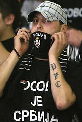 Grobarji - Fans of Partizan during second semi-final match of Basketball NLB League at Final four tournament between KK Partizan Igokea, Beograd, Serbia and Union Olimpija, Ljubljana, Slovenia, on April 25, 2008, in Arena Tivoli in Ljubljana. Match was won by Partizan 94:90. (Photo by Vid Ponikvar / Sportal Images)
