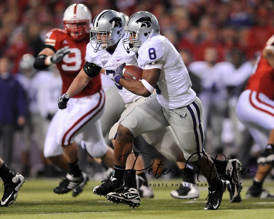 November 21, 2009: Running back Daniel Thomas #8 of the Kansas State Wildcats rushes up field against the Nebraska Cornhuskers in the first half at Memorial Stadium in Lincoln, Nebraska.