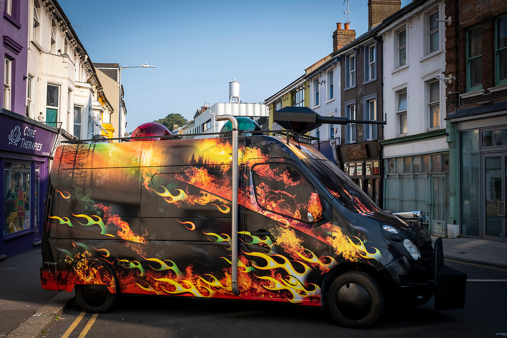 Climate Emergency Services By Artist Mike Stubb parked in the middle fo the road for the launch of The Creative Folkestone Triennial 2020, The Plot Tontine street was closed off and more artwork appeared. This is Folkestone's 5th open air art exhibition and the third one curated by Lewis Biggs. The Plot sees 27 newly commissioned artworks appearing around the south coast seaside town. The new work builds on the work from previous triennials making Folkestone the biggest urban outdoor contemporary art exhibition in the UK.  (photo by Andrew Aitchison / In pictures via Getty Images)