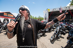 Jack Schit MC's the Roadhouse during Laconia Motorcycle Week 2016. NH, USA. Friday, June 17, 2016.  Photography ©2016 Michael Lichter.