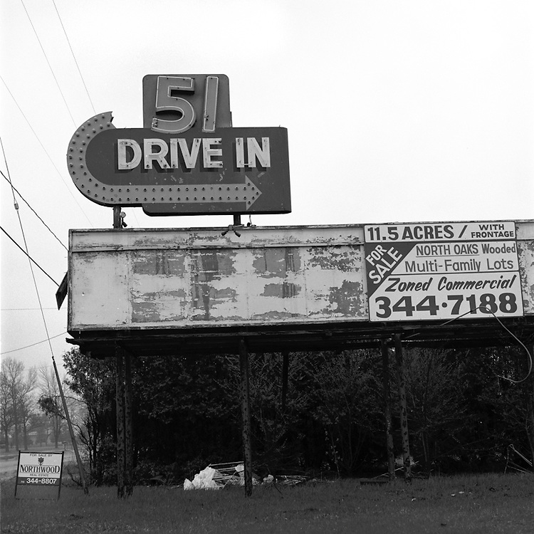 This is literally a sign of the times -- both the time when drive-ins were popular and now when they are not.