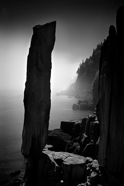 The Balancing Rock on Digby Island. Beautiful foggy morning.
