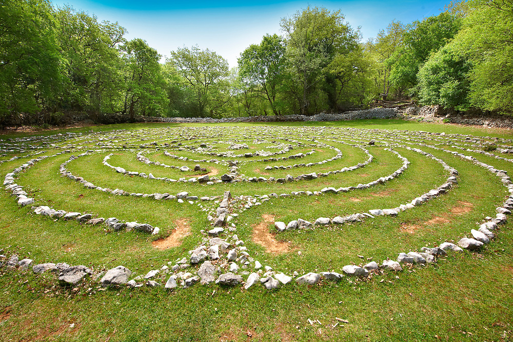 Vesna's Labyrinth - Replica of a labyrinth found in Notre Dame Cathedral; Tramuntana Forest; Cres Island Croatia .<br /> <br /> Visit our CROATIA HISTORIC SITES PHOTO COLLECTIONS for more photos to download or buy as wall art prints https://funkystock.photoshelter.com/gallery-collection/Pictures-Images-of-Croatia-Photos-of-Croatian-Historic-Landmark-Sites/C0000cY_V8uDo_ls