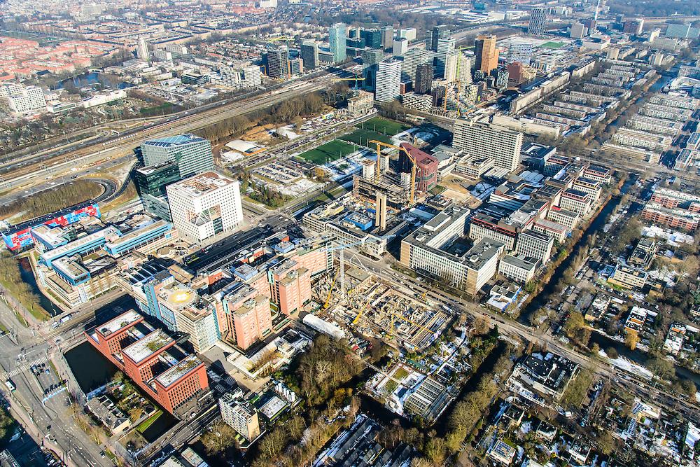 Nederland, Noord-Holland, Amsterdam, 28-10-2016; Buitenveldert, winters overzicht Zuid-as, de Boelelaan met Academisch Ziekenhuis VU. In de achtergrond Gustav Mahlerlaan, George Gershwinlaan, Ringweg A10 en Station Zuid-WTC.<br /> Zuid-as, South axis, Amsterdam equivalent of 'the City', financial district with <br /> luchtfoto (toeslag op standard tarieven);<br /> aerial photo (additional fee required);<br /> copyright foto/photo Siebe Swart