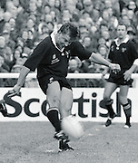 Twickenham, GREAT BRITAIN,      Rob ANDREW, kicking from midfield during the premiership match, Harlequins vs London Wasps, played at The Stoop Memorial Ground. 10.1994..[Mandatory Credit; Peter Spurrier/Intersport-images]