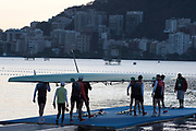 """Rio de Janeiro. BRAZIL.   GER M8+ Boating. General View at the sunrise in the boating park at the 2016 Olympic Rowing Regatta. Lagoa Stadium,<br /> Copacabana,  """"Olympic Summer Games""""<br /> Rodrigo de Freitas Lagoon, Lagoa.   Thursday  11/08/2016 <br /> <br /> [Mandatory Credit; Peter SPURRIER/Intersport Images]"""