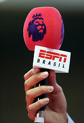 """Close up of the ESPN Brasil broadcast mic during the Premier League match at Vicarage Road, Watford PRESS ASSOCIATION Photo. Picture date: Saturday September 15, 2018. See PA story SOCCER Watford. Photo credit should read: Nigel French/PA Wire. RESTRICTIONS: EDITORIAL USE ONLY No use with unauthorised audio, video, data, fixture lists, club/league logos or """"live"""" services. Online in-match use limited to 120 images, no video emulation. No use in betting, games or single club/league/player publications."""