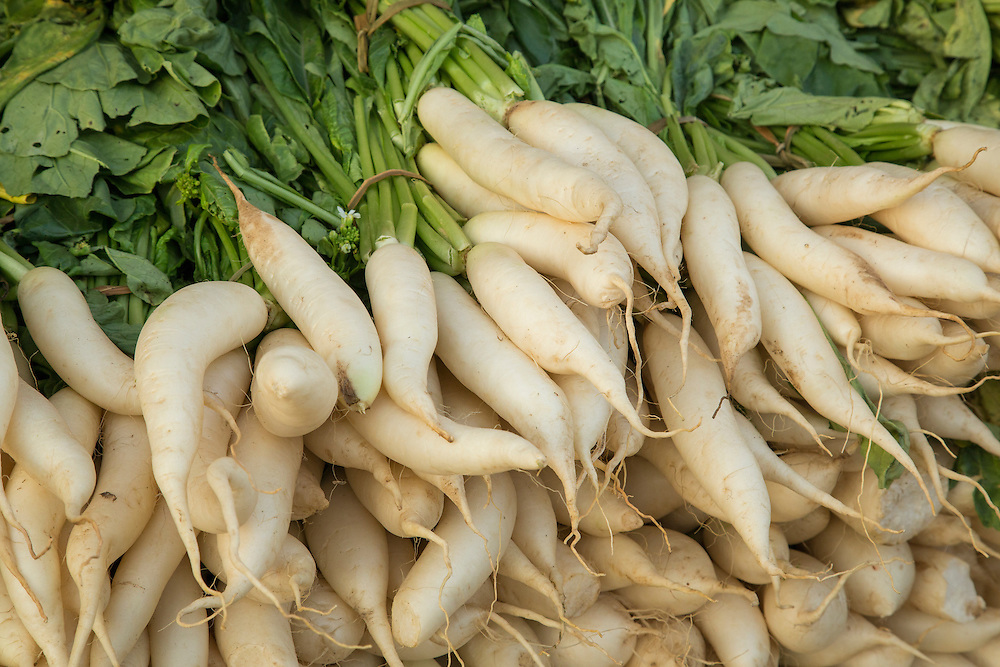 Asia, Myanmar, (also known as Burma), Mandalay, pile of turnips in market
