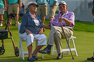 Justin Thomas' (USA) grandparents await the trophy presentation on the 18th green following 4th round of the World Golf Championships - Bridgestone Invitational, at the Firestone Country Club, Akron, Ohio. 8/5/2018.<br /> Picture: Golffile | Ken Murray<br /> <br /> <br /> All photo usage must carry mandatory copyright credit (© Golffile | Ken Murray)