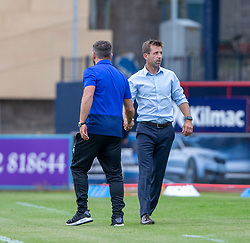 Aberdeen manager Derek McInnes and Dundee's manager Neil McCann at the end. Dundee 0 v 1 Aberdeen, SPFL Ladbrokes Premiership game played 11/8/2018 at Dundee stadium, Dens Park.