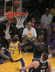 October 25, 2018 - Los Angeles, California, U.S - LeBron James #23 of the Los Angeles Lakers goes for a layup during their NBA game with the Denver Nugguets on Thursday October 25, 2018 at the Staples Center in Los Angeles, California. (Credit Image: © Prensa Internacional via ZUMA Wire)