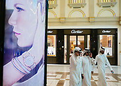 Advertising billboard in upmarket Villagio Mall in Doha Qatar