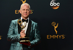 September 18, 2016 - Los Angeles, California, United States - Ryan Murphy poses backstage with his Emmy Award for Outstanding Limited Series at the 68th Annual Emmy Awards at the Microsoft Theater in Los Angeles, California on Sunday, September 18, 2016. (Credit Image: © Michael Owen Baker/Los Angeles Daily News via ZUMA Wire)