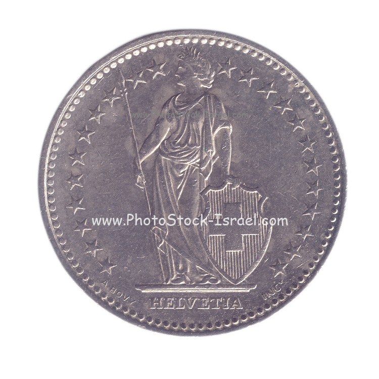 silver One Swiss Frank coin on white background