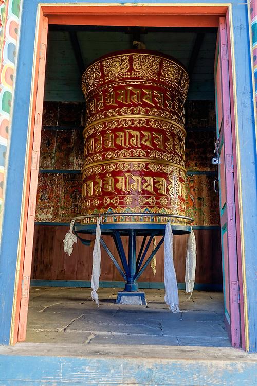 Buddhist prayer wheel at the Namia Gumba monastery in the Manaslu region of Nepal.