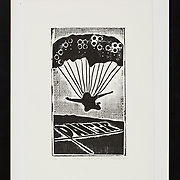 """Title: A Deliberate Jump<br /> Artist: Missy Davis<br /> Date: 2010<br /> Medium: Woodcut<br /> Dimensions: 13.5 x 17.5""""<br /> Instructor: <br /> Status: On Display<br /> Location: Cypress Creek Campus Commons, Building 1000"""