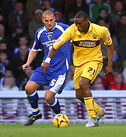 Photo: Dave Linney.<br />Cardiff City v Burnley. Coca Cola Championship. 11/11/2006.Burnley's  Gifton Noel Williams (R) on the attack with Cardiff's  Darren Purse close by.