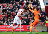 Adrian , the West Ham utd goalkeeper saves from Marko Arnautovic of Stoke city. Premier league match, Stoke City v West Ham Utd at the Bet365 Stadium in Stoke on Trent, Staffs on Saturday 29th April 2017.<br /> pic by Bradley Collyer, Andrew Orchard sports photography.
