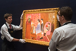 Sotheby's, London, January 28th 2016. Gallery technicians hang Henri Matisse's La Leçon de piano which is expected to fetch up to £18 million and is to be auctioned by Sotheby's in London as part of their sale of Impressionist, Modern, Surrealist and Contemporary art. ///FOR LICENCING CONTACT: paul@pauldaveycreative.co.uk TEL:+44 (0) 7966 016 296 or +44 (0) 20 8969 6875. ©2015 Paul R Davey. All rights reserved.