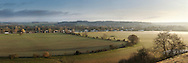 Panorama from hills overlooking the River Thames at Bourne and the Chiltern Hills, Buckinghamshire, Uk