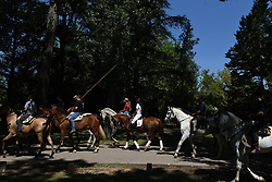 August 5, 2017 - AlmazáN, Soria, Spain - Several people riding horses during the festival of the transhumance in Almazán, north of Spain. (Credit Image: © Jorge Sanz/Pacific Press via ZUMA Wire)