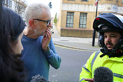 © Licensed to London News Pictures. 04/01/2020. London, UK. Leader of Labour Party, JEREMY CORBYN (L) and Uber Eat driver ZAKARIA GHERABI (R) speaking with the media at the crime scene in Finsbury Park. Police launch a murder investigation following a death of a man in his 30s on Friday 3 January 2020. Police were called at approximately 6.50pm to reports of a man stabbed and the he was pronounced dead at the scene just after 7.30pm.  Photo credit: Dinendra Haria/LNP