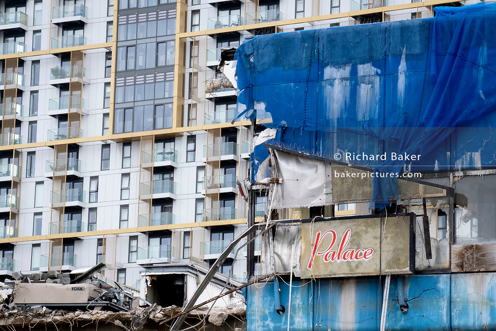 The changing urban landscape of the former Elephant & Castle shopping centre which is being demolished and redeveloped in south London, on 22nd June 2021, in London, England. The much-criticised architecture of the Elephant & Castle Shopping Centre was opened in 1965, built on the bomb damaged site of the former Elephant & Castle Estate, originally constructed in 1898. The centre was home to restaurants, clothing retailers, fast food businesses and clubs where south Londoners socialised and met lifelong partners.