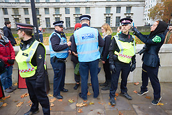 © Licensed to London News Pictures. 24/11/2018. LONDON, UK.  Police detain a man wearing a red hat after graffiti reading 'Mother' was spray painted into The Women of World war II memorial during a protest by Extinction Rebellion. He was quickly stopped by police and detained. The group is conducting a campaign of civil disobedience to highlight the urgency of action on climate change and species loss.  Photo credit: Cliff Hide/LNP