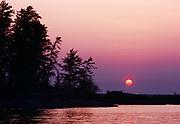 Sunset over Rainy Lake, Voyageurs National Park, Minnesota.