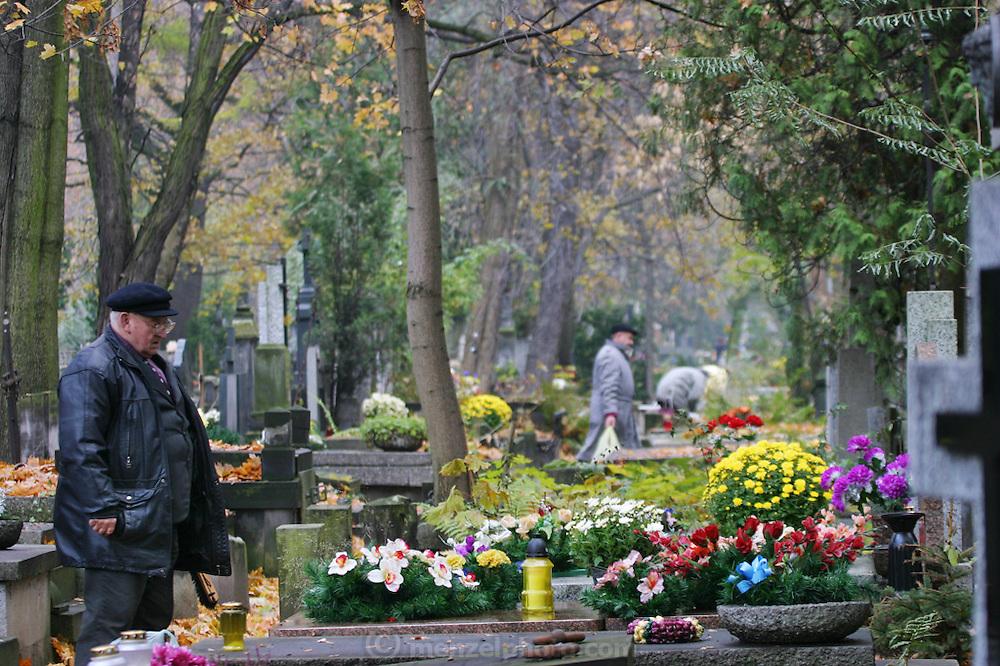 Preparing for All Saints Day. Powazek Cemetery. Warsaw, Poland.