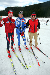 Czech cross-country skier Lukas Bauer (the best in 2007/2008 season in the world), Slovenian cross-country skier Petra Majdic and Tone Fornezzi - Tof at Alpina presentation of new cross-country shoes with red dot award: product design, on April 24, 2008, in Pokljuka, Rudno polje, Slovenia.  (Photo by Vid Ponikvar / Sportal Images)/ Sportida)