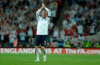 Photo: Richard Lane.<br />England v Brazil. International Friendly. 01/06/2007. <br />England's David Beckham applauds the fans as he is substituted.