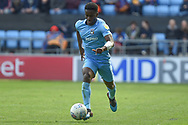Shrewsbury Town defender Ryan Haynes (3) sprints forward with the ball during the EFL Sky Bet League 1 match between Coventry City and Shrewsbury Town at the Ricoh Arena, Coventry, England on 28 April 2019.