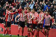 Sunderland players celebrate Tom Flanagn's goal during the EFL Sky Bet League 1 match between Sunderland and Portsmouth at the Stadium Of Light, Sunderland, England on 27 April 2019.
