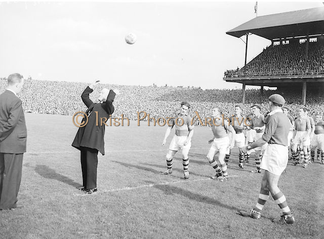 Bishop throwing the ball in to begin the All Ireland Senior Football Championship Final, Armagh v Kerry in Croke Park on 27th September 1953, Kerry 0-13, Armagh 1-06.