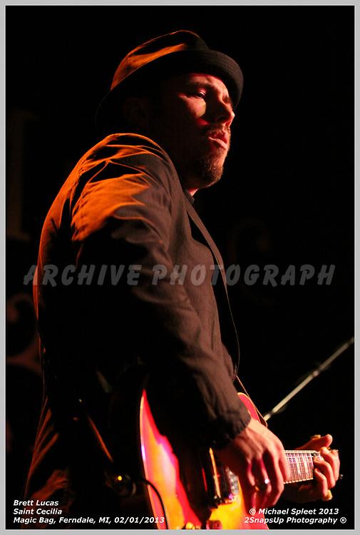 FERNDALE, MI, FRIDAY, FEB. 01, 2013 : Saint Cecilia, Brett Lucas at Magic Bag, Ferndale, MI, 02/01/2013.  (Image Credit: Michael Spleet / 2SnapsUp Photography)