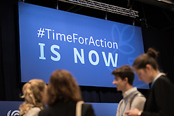 2 December 2019, Madrid, Spain: '#TimeForAction is now' reads a sign, as the 25th UN climate conference (COP25) opening plenaries take place in Madrid on 2 December.