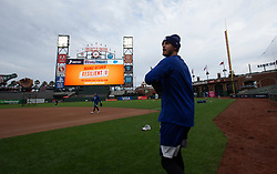 Oct 7, 2021; San Francisco, CA, USA; Los Angeles Dodgers outfielder Cody Bellinger walks out onto the field during NLDS workouts. Mandatory Credit: D. Ross Cameron-USA TODAY Sports