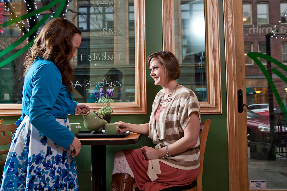 28 February 2012- Elizabeth Drickey and her daughter, Grace Salanitro, are photographed at The Tea Smith in Downtown Omaha, Nebraska.