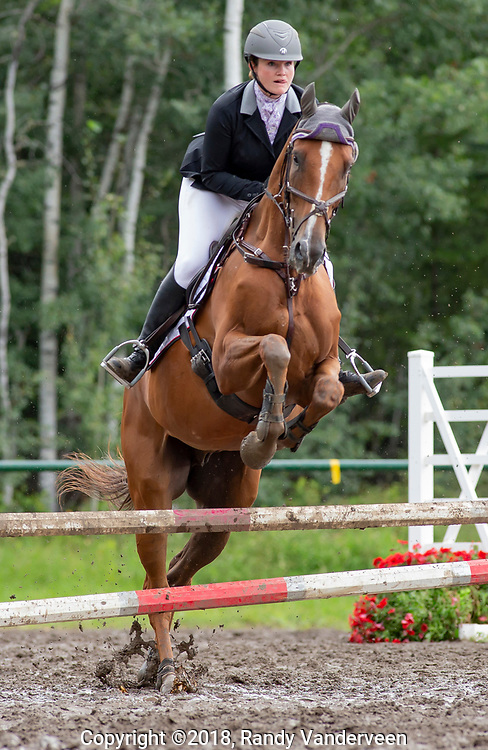 Photo Randy Vanderveen<br /> County of Grande Prairie, Alberta<br /> 2018-09-01<br /> Shelby Friesen aboard Malachai clears a jump in the show jumping event Saturday afternoon at the South Peace Horse Club's Trials Saturday
