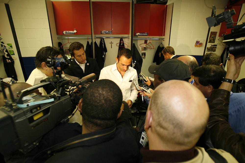 Saturday October 14th 2006. .Giants Stadium, East Rutherford, New Jersey. United States..Red Bulls French soccer player Youri Djorkaeff answers interviews in the locker room after a game against Kansas City at the Giants Stadium. This game could have been be his last one as a professional player if the Red Bulls didn't win 3-2.