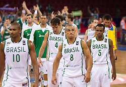 during  the Preliminary Round - Group B basketball match between National teams of Slovenia and Brasil at 2010 FIBA World Championships on September 1, 2010 at Abdi Ipekci Arena in Istanbul, Turkey. (Photo By Vid Ponikvar / Sportida.com)