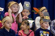 """Middletown, New York - Preschool and pre-K students line up before performing in the """"YMCA Thanksgiving Day Spectacular"""" on the stage of the Center for Youth Programs on Nov. 27, 2013."""