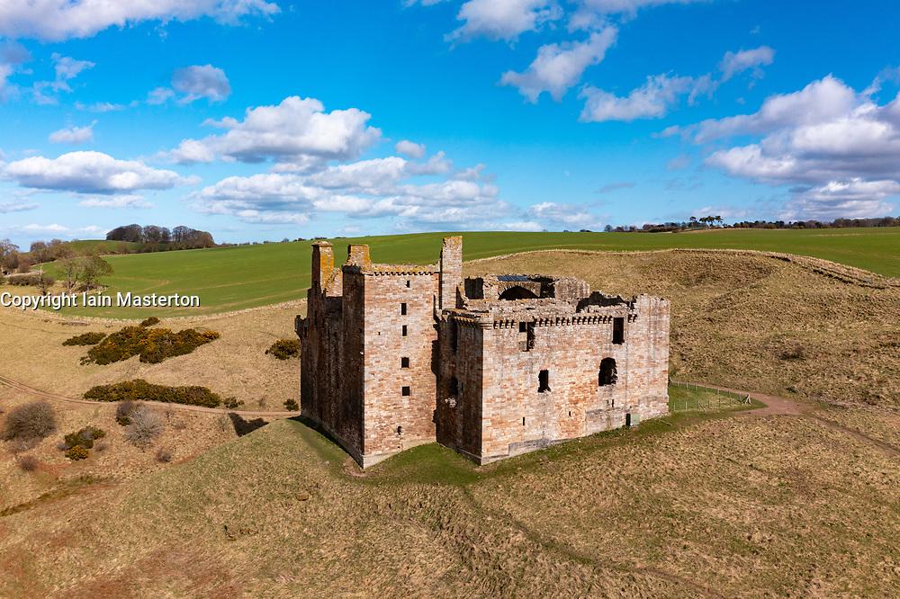 Aerial view of Crichton Castle in Crichton in Midothian, Scotland, UK