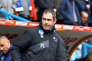 Derby County Manager Paul Clement looks on prior to kick off. Skybet football league Championship match, Huddersfield Town v Derby county at the John Smith's Stadium in Huddersfield , Yorkshire on Saturday 24th October 2015.<br /> pic by Chris Stading, Andrew Orchard sports photography.