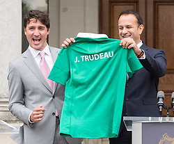 Prime Minister Justin Trudeau reacts as he is presented with a jersey by Irish Taoiseach Leo Varadkar at Farmleigh House Tuesday, July 4, 2017 in Dublin, Ireland. Photo by Ryan Remiorz/CP/ABACAPRESS.COM