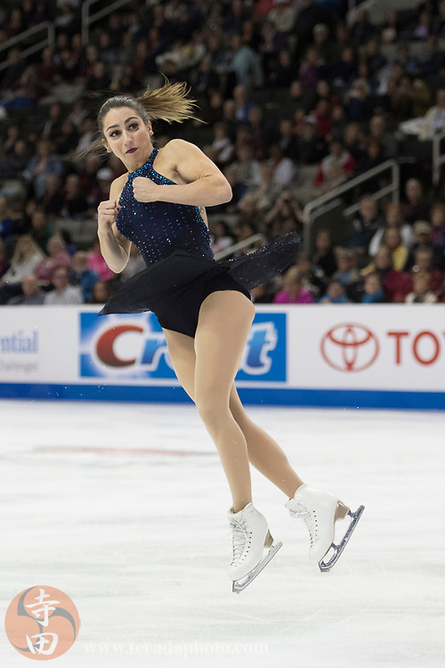 January 4, 2018; San Jose, CA, USA; Marissa Castelli and Mervin Tran perform in the pairs short program during the 2018 U.S. Figure Skating Championships at SAP Center.