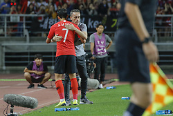 September 7, 2018 - Goyang, Gyeonggi, South Korea - September 7, 2018-Goyang, South Korea-Paulo Bento of South Korea Coach and Son Heungmin action on the fieldside during an Football A Match South Korea vs Costa Rica at Goyang Sports Complex in South Korea. Match Won South KOrea, Score by 2-0. (Credit Image: © Ryu Seung-Il/ZUMA Wire)